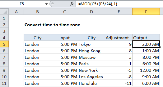 Convert time to time zone in Excel - Excel Office