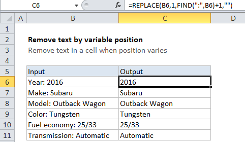 Remove text by variable position in a cell in Excel - Excel Office