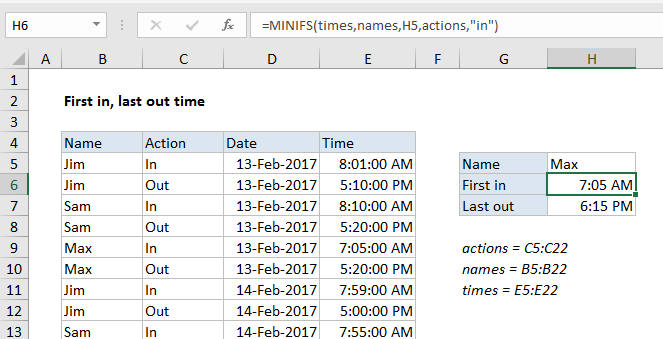 First in, last out times in Excel - Excel Office