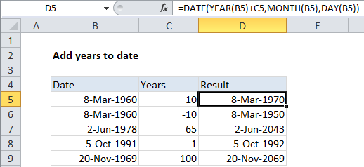 Add Years To Date In Excel Excel Office